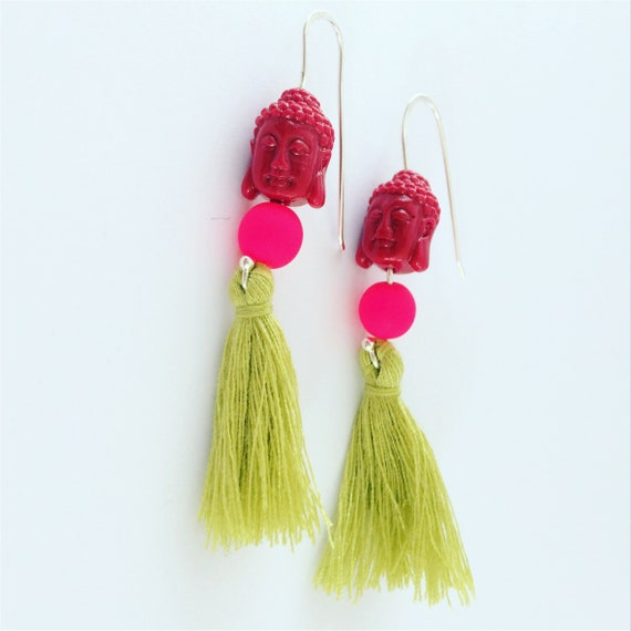 Buddha Tassel Neon Earrings  Sterling Silver Festival Dangle Party Bohemian Boho Statement Fun Mysticism Bright Buddhist Karma Love Energy