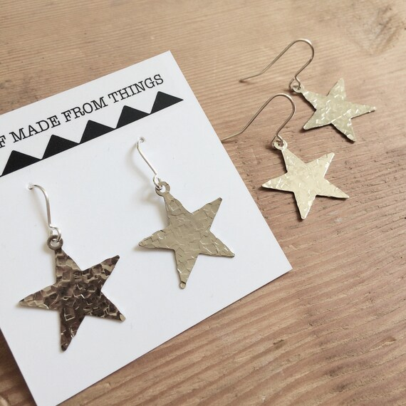 Silver Hammered Star Silver Tone Celestial Geometric Gypsy Bohemian Boho Simple Light Night Stars Sparkle Delicate Feminine Christmas