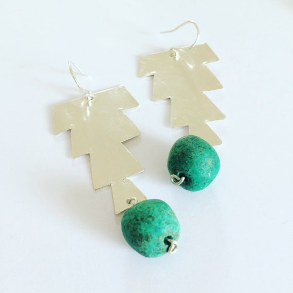 Hammered Sterling Silver Earrings Morrocan Inspired Green Large lightweight Festival Gypsy Folk Art Bead Earrings Statement Unusual