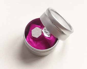 Sterling Silver Hammered Hexagon Studs in Gift Tin