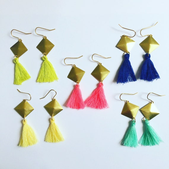 Long Tasseled Brass Diamond Earrings Gold Neon Green Pink Grey Turquoise Festival Lime Gypsy Boho Fun Statement Flirty On Trend Holiday