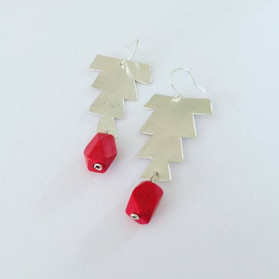 Large Red Hammered Sterling Silver Earrings - Moroccan Inspired - Festival - Gypsy - Geometric - Art - Statement