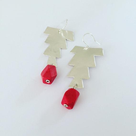 Hammered Sterling Silver Earrings Morrocan Inspired Bright Red Large lightweight Festival Gypsy Folk Art Bead Earrings Statement Unusual