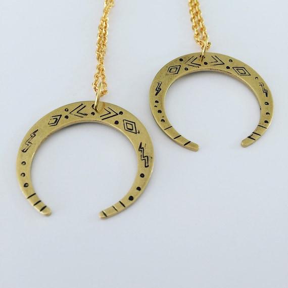Gold Raw Brass Crescent Moon Necklace Venus Luna Wicca Witch Tribal Folk Art Bohemian Boho Festival Mystical Feminine Delicate Celestial