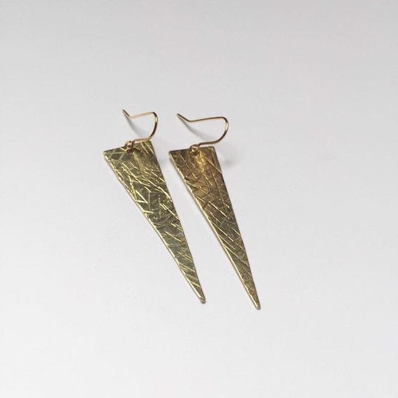 Long Brass Gold Triangle Earrings - Hammered - Crisscross - Crosshatching - Textured  - Geometric - Modern