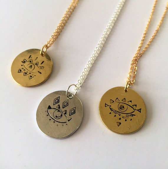 Observe Necklace in Silver or Gold - Aluminium -Raw Brass - Eye -Long Necklace - Gratitude - Talisman - Charm - affirmation - Positivity -