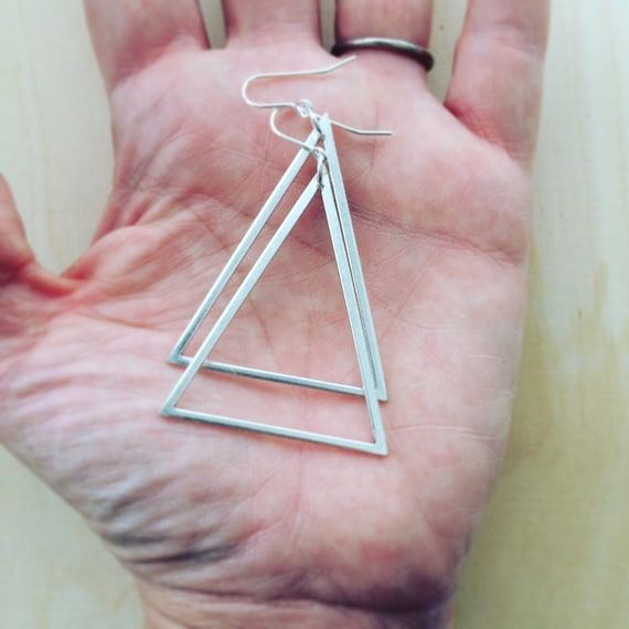 Large Silver Tone Brass Triangle Earrings Geometric Drop Modern Simple Silver Minimal Minimalist Industrial Statement Bold Strong Feminine