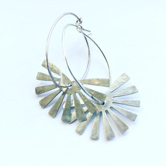 Silver Tone Sunbeam Hoop Earrings - Silver Plated Hoops - Summer - Geometric  - Festival - Everyday
