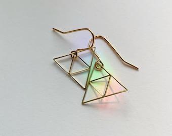 Asymmetric Triangle Earrings - Brass - Gold - Delicate - Light - Everyday