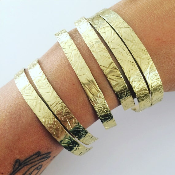 Gold Hammered Crosshatch Brass Adjustable Slim Cuff Delicate Feminine Festival Gypsy Boho Bohemian Stacker Bangle Bracelet Gift Stacking