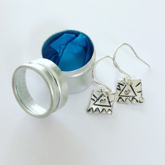 Sterling Silver Earrings Folk Art Aztec in Aluminum Gift Tin Present Boho Bohemian Small Delicate Tiny Cute Feminine Beautiful