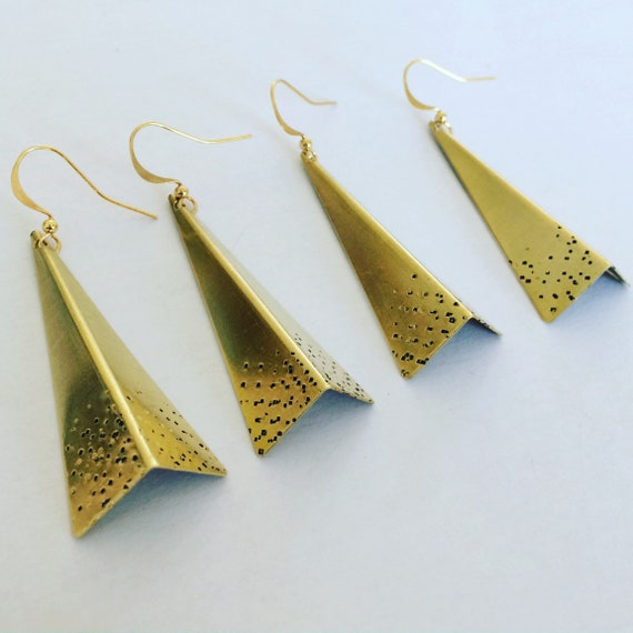 Gold Folded Triangle Raw Brass Earrings Geometric Modern Statement Long Drop Dangle Bold Delicate Feminine Sexy Eye Catching Origami