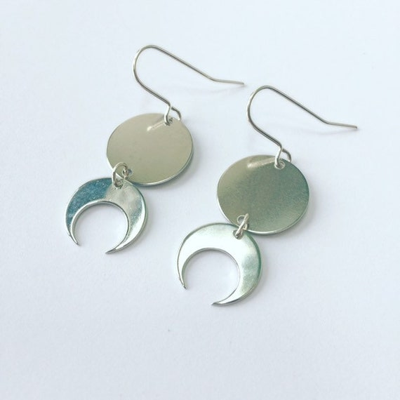 Silver Moon Phases Drop Earrings Silver Plated Celestial Full Moon Half Moon Crescent Minimalist Boho Gypsy