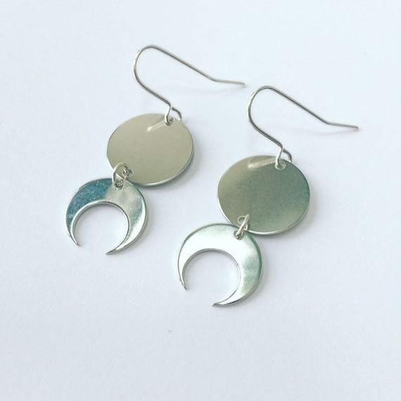 Silver Moon Phases Drop Earrings Silver Plated Celestial Full Moon Half Moon Crescent Minimalist Boho Gypsy