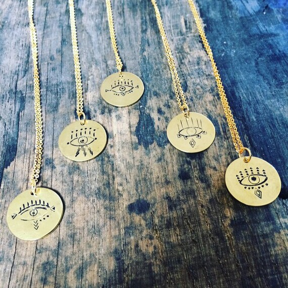 Observe Necklace in Aluminium or Raw Brass - Eye -Long Necklace - Talisman - Charm - affirmation - Positivity - Celestial -