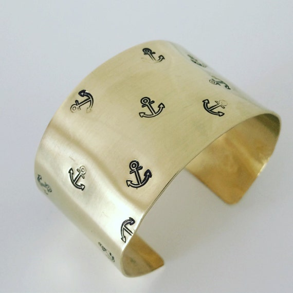 Gold Wide Raw Brass Cuff with Anchor Design - Sailor Nautical Gold Festival Sea Ocean Boat Classic Pirate