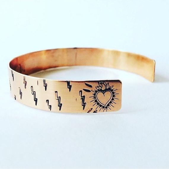 Journey Copper Cuff - Lightening Bolt - Heart - Healing - Strength - Empowerment - Support - Love - Adjustable