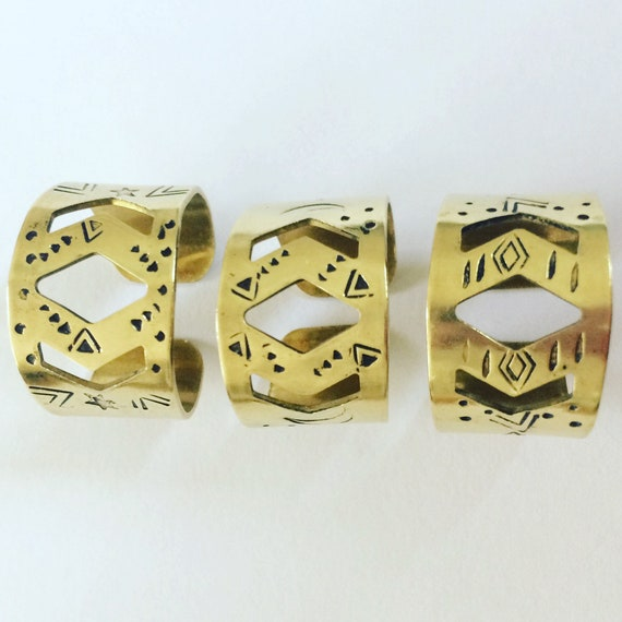 Gold Adjustable Raw Brass Statement Ring Tribal Aztec Folk Art Mystic Magik Wicca