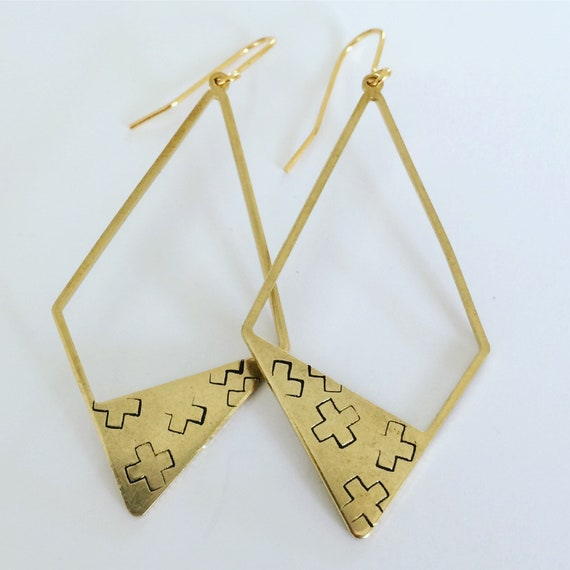 Raw Brass Asymmetric Diamond Earrings - Minimalist - Geometric - Large - Crosses - Festival - Gold