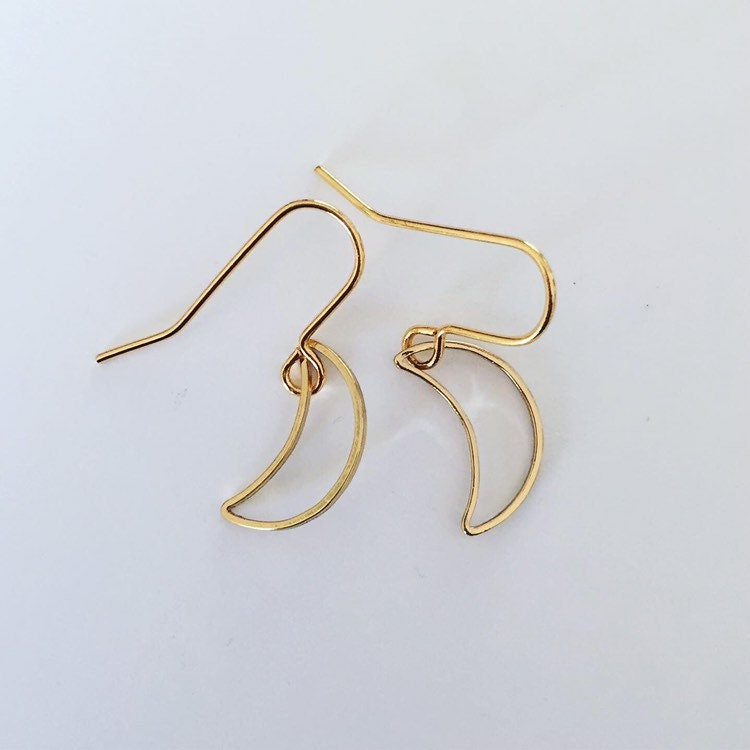 Rose,Gold,Plated,Tiny,Crescent,Moon,Earrings,crescents,little_moons,hoops,moon_earrings,celestial_earrings,drop_earrings,geometric_earrings,modern_earrings,minimalist_earrings,simple_earrings,gold_earrings