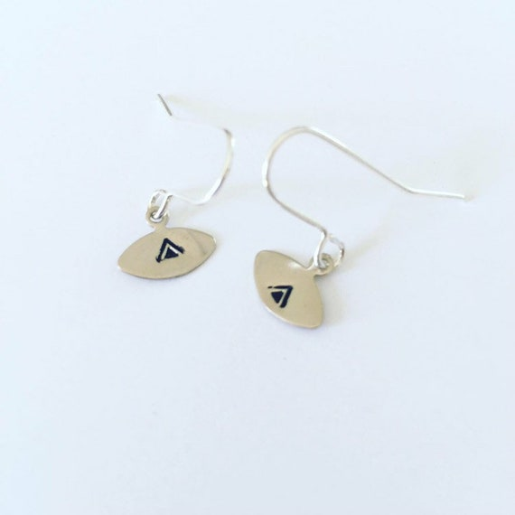 Small Silver Plated Eye Earrings with Triangle Design - Gypsy - Tiny - Beautiful -