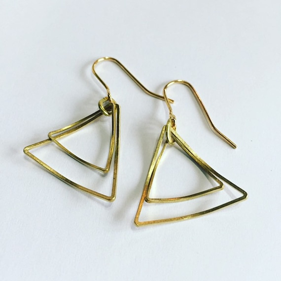 Delicate Curved Triangle Gold Brass Drop Earrings - Geometric - Modern - Simple - Light