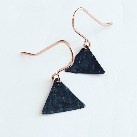 Matte Black Tiny Triangle Earrings - Modern - Simple - Geometric -