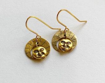 Little Deity Golden Brass Earrings - Goddess - Face - Statement