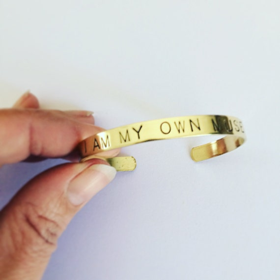 I Am My Own Muse Quote Brass Cuff - Positivity - Uplifting - Adjustable - Hand Stamped - Intention - Strength - Feminism - Bangle - Bracelet