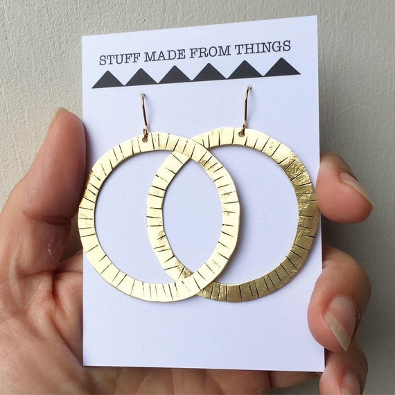 Lined Chunky Gold Brass Hoops - Hammered - Statement - Large - Folk - Tribal - Gypsy -