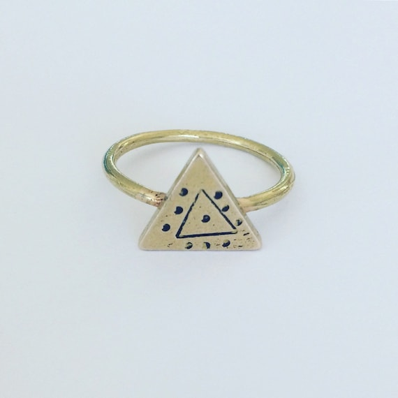 Gold Ring Evil Eye Raw Brass Geometric Protection Tribal Art Boho Bohemian Triangle Witch Shaman Magic Mystic Talisman Festival Gypsy Wicca