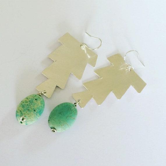 Hammered Sterling Silver Earrings Morrocan Inspired Mint Green Large lightweight Festival Gypsy Folk Art Bead Earrings Statement Unusual
