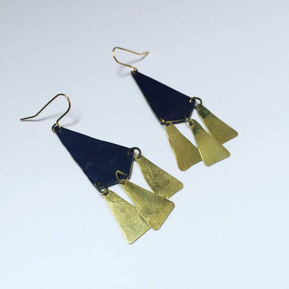 ALCHEMY Earrings - Gold - Matte Black - Brass - Long - Goddess - Dangle - Drop - Statement - Big -