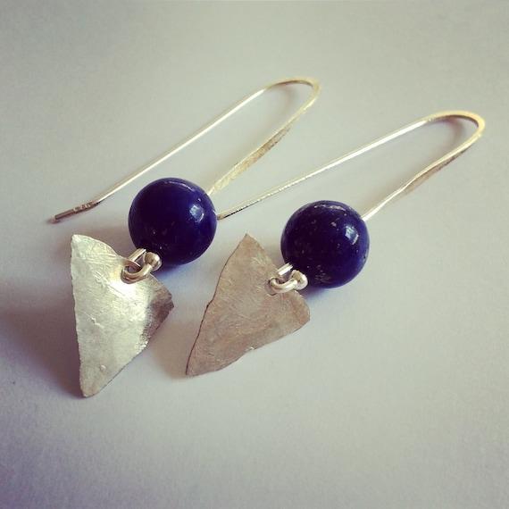 Sterling Silver Lazuli Arrowhead Earrings Blue Third Eye Healing Chakras Triangle Geometric Boho Festival Gypsy Hammered Semi Precious Stone