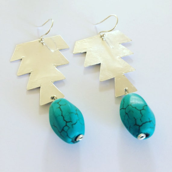 Hammered Sterling Silver Earrings - Morrocan Inspired - Turquoise - Large - Festival - Gypsy - Art - Bead Earrings - Statement -