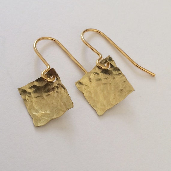 Gold Hammered Square Earrings Raw  Simple Modern Minimal Minimalist Geometric Sparkly Small Delicate Feminine Chic Stylish Contemporary