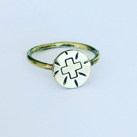 Gold Positive Vibes Raw Brass Ring Positivity Geometric Boho Festival Shamanic Self Love Healing Gold Tribal Positivity Cross Witch Wicca
