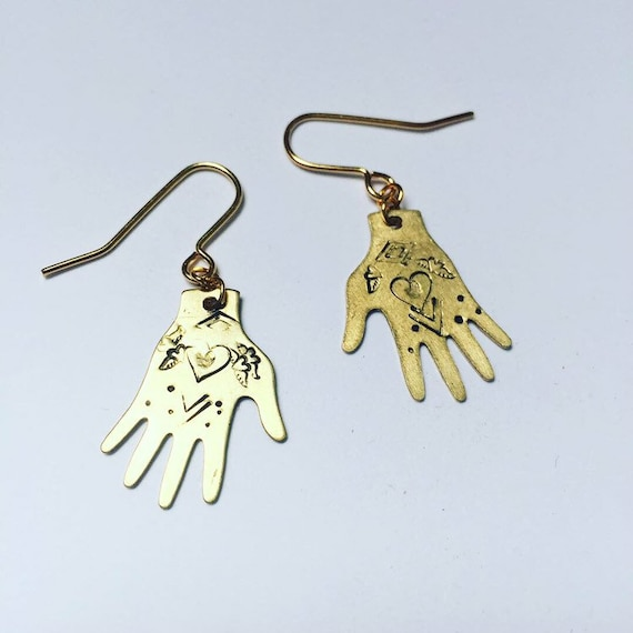 Healing Hand Gold Raw Brass Earrings - Folk Art - Hearts - Love - Reiki - Gypsy - Mexican Tin - Milagro - Charm - Talisman