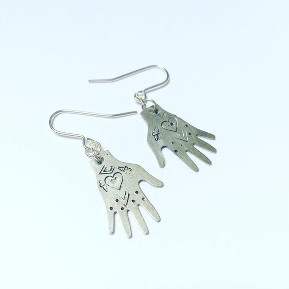 Silver Healing Hand Earrings Silver Tone Hearts Heart Tattoo Folk Art Festival Boho Bohemian Mexican Day of the Dead Milagro