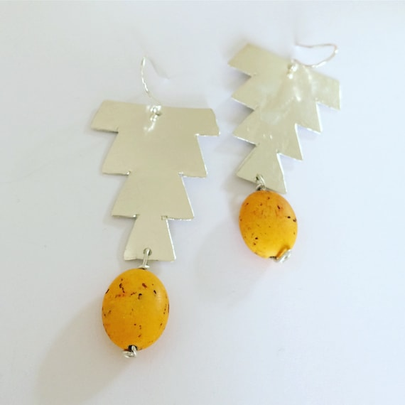 Large Yellow Hammered Sterling Silver Earrings - Moroccan Inspired - Festival  - Gypsy - Geometric - Statement - Planished