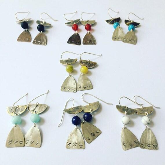 Semi Precious Stone Earrings - Crystals - Peridot - Lapis - Aquamarine - Howlite - Turquoise - Lava - Carnelian - Healing -