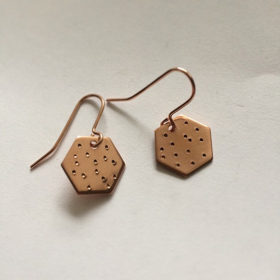 Hexagonal Copper Earrings Spotty Polka Dot Geometric Minimal Minimalist Modern Simple Dots Small Tiny Delicate Subtle Rose Gold Unusual