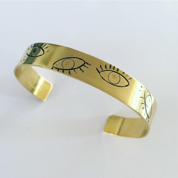 Observe Gold Brass Cuff - Eyes - Bangle - Bracelet - Talisman - Charm - Affirmation - Positivity