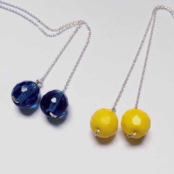 Sterling Silver Threader Earrings with Faceted Glass Beads - Yellow - Blue -