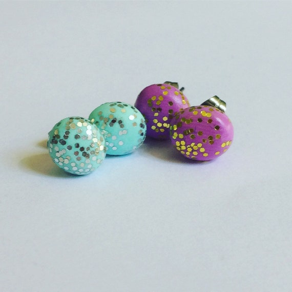 Glitter Polymer Clay Round Studs Stainless Steel Unicorn Mint Pink Mermaid Festival Disco Fun Two Pairs  Hypoallergenic