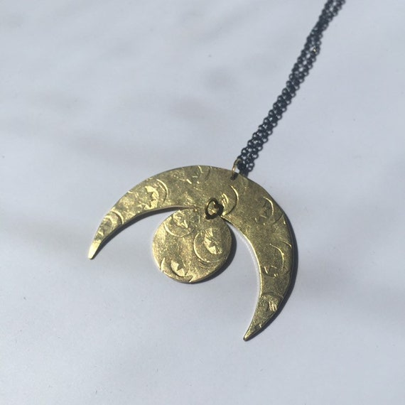 Gold Brass Many Moons Necklace - celestial - Half Moon - Crescent - Hammered - Gypsy - Folk Art -