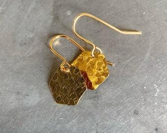 Small Brass Hammered Hexagon Earrings - Geometric - Modern