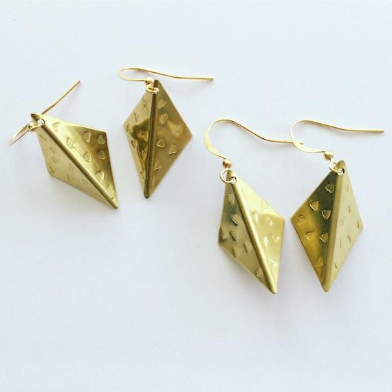 Gold Folded Diamond Raw Brass Earrings Modern Geometric Kite Boho Gypsy Large Statement Bold Origami Delicate Feminine Pattern
