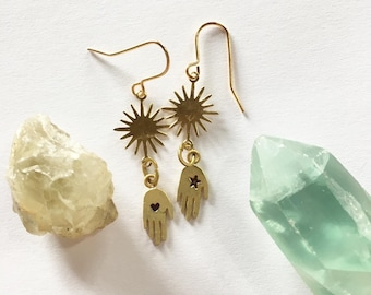 BESTOWAL Gold Brass Drop Hand Earrings with Sun, Star and Heart