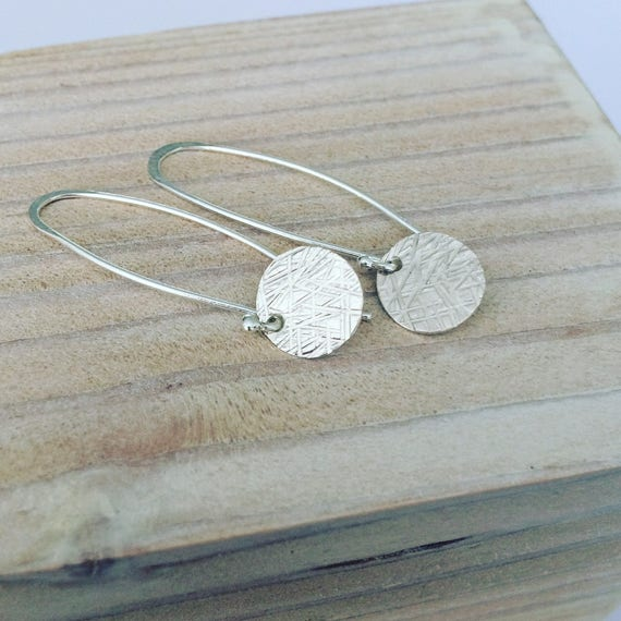 Sterling Silver Disc Long Earrings Hammered Textured Modern Minimalist Simple Delicate Feminine Artistic Unusual Understated Light